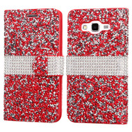 Round Brilliant Diamond Leather Wallet Case for Samsung Galaxy Grand Prime - Red