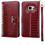 *SALE* Crocodile Embossed Leather Wallet Case for Samsung Galaxy S7 Edge - Burgundy