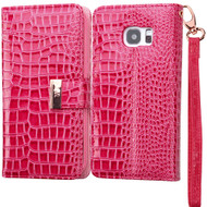 Crocodile Embossed Leather Wallet Case for Samsung Galaxy S7 Edge - Hot Pink