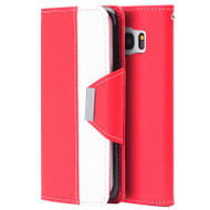 Classic Leather Wristlet Kickstand Case for Samsung Galaxy S7 Edge - Red