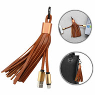 Mybat Portable Leather Lightning Connector to USB Charging and Sync Cable with Tassel Key Chain - Beige