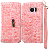 Crocodile Embossed Leather Wallet Case for Samsung Galaxy S7 - Pink