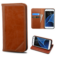 Mybat Genuine Leather Wallet Case for Samsung Galaxy S7 Edge - Brown