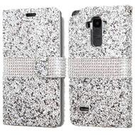 Round Brilliant Diamond Leather Wallet Case for LG G Stylo / Vista 2 - Silver