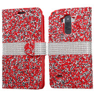 Round Brilliant Diamond Leather Wallet Case for LG G Stylo / Vista 2 - Red