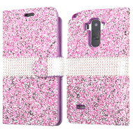 Round Brilliant Diamond Leather Wallet Case for LG G Stylo / Vista 2 - Purple
