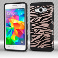 Military Grade Certified TUFF Trooper Dual Layer Hybrid Armor Case for Samsung Galaxy Grand Prime - Zebra Rose Gold