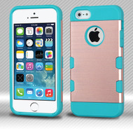 Military Grade Certified TUFF Trooper Dual Layer Hybrid Armor Case for iPhone SE / 5S / 5 - Brushed Rose Gold Teal