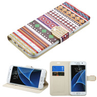 Art Design Portfolio Leather Wallet for Samsung Galaxy S7 Edge - Ethnic Customs