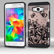 Military Grade Certified TUFF Trooper Hybrid Armor Case for Samsung Galaxy Grand Prime - Lace Flowers Rose Gold