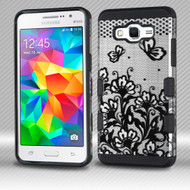 Military Grade TUFF Trooper Dual Layer Hybrid Armor Case for Samsung Galaxy Grand Prime - Lace Flowers Black