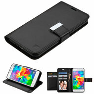 Essential Leather Wallet Stand Case for Samsung Galaxy Grand Prime - Black