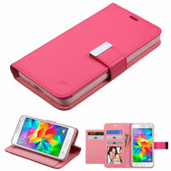 Essential Leather Wallet Stand Case for Samsung Galaxy Grand Prime - Hot Pink