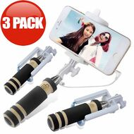 *LIMITED TIME OFFER* Foldable Wired Selfie Stick with Shutter Button - 3 Pack