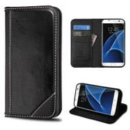 Mybat Genuine Leather Wallet Case for Samsung Galaxy S7 Edge - Black