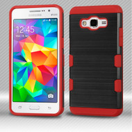 Military Grade Certified TUFF Trooper Dual Layer Hybrid Armor Case for Samsung Galaxy Grand Prime - Brushed Black Red