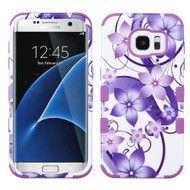 Military Grade TUFF Image Hybrid Case for Samsung Galaxy S7 Edge - Purple Hibiscus Flower Romance