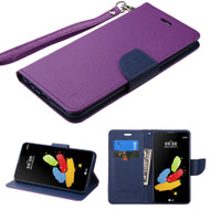 *SALE* Leather Wallet Shell Case for LG G Stylo 2 / Stylus 2 - Purple