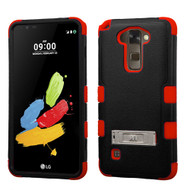 Military Grade Certified TUFF Hybrid Armor Case with Stand for LG G Stylo 2 / Stylus 2 - Black Red