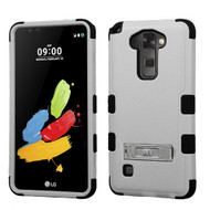 Military Grade Certified TUFF Hybrid Armor Case with Stand for LG G Stylo 2 / Stylus 2 - Grey