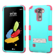 Military Grade Certified TUFF Hybrid Armor Case with Stand for LG G Stylo 2 / Stylus 2 - Teal Hot Pink