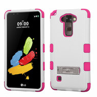 Military Grade Certified TUFF Hybrid Armor Case with Stand for LG G Stylo 2 / Stylus 2 - White Hot Pink