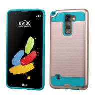 Brushed Hybrid Armor Case for LG G Stylo 2 / Stylus 2 - Rose Gold Teal