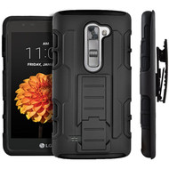 Robust Armor Stand Protector Cover with Holster for LG G Stylo 2 / Stylus 2 - Black