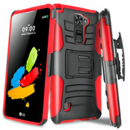 Advanced Armor Hybrid Kickstand Case with Holster for LG G Stylo 2 / Stylus 2 - Black Red