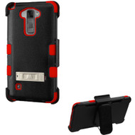 Military Grade Certified TUFF Hybrid Kickstand Case with Holster for LG G Stylo 2 / Stylus 2 - Black Red