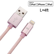 Mybat MFI Braided Lightning Connector to USB Charging and Sync Cable - 4 ft. Rose Gold