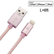 Mybat MFI Braided Lightning Connector to USB Charging and Sync Cable - 6 ft. Rose Gold