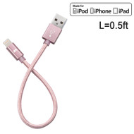 Mybat MFI Braided Lightning Connector to USB Charging and Sync Cable - 0.5 ft. Rose Gold