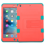 Military Grade TUFF Hybrid Armor Case with Stand for iPad Mini - Pink Teal