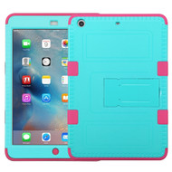 Military Grade Certified TUFF Hybrid Armor Case with Stand for iPad Mini - Teal Hot Pink