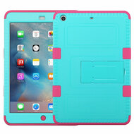 Military Grade TUFF Hybrid Armor Case with Stand for iPad Mini - Teal Hot Pink