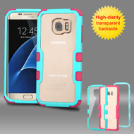 TUFF Vivid Hybrid Armor Case for Samsung Galaxy S7 Edge - Teal Hot Pink