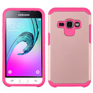 *SALE* Hybrid Multi-Layer Armor Case for Samsung Galaxy Amp 2 / Express 3 / J1 (2016) - Rose Gold Hot Pink