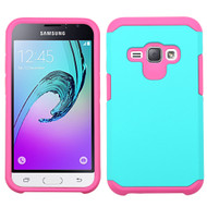 Hybrid Multi-Layer Armor Case for Samsung Galaxy Amp 2 / Express 3 / J1 (2016) - Teal Hot Pink