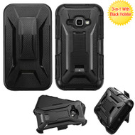 *SALE* Tough Armor Hybrid Kickstand Case with Holster for Samsung Galaxy Amp 2 / Express 3 / J1 (2016) - Black
