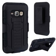 Robust Armor Stand Protector Cover with Holster for Samsung Galaxy Amp 2 / Express 3 / J1 (2016) - Black