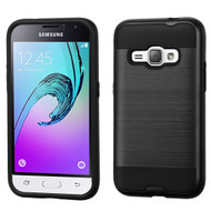 Brushed Hybrid Armor Case for Samsung Galaxy Amp 2 / Express 3 / J1 (2016) - Black