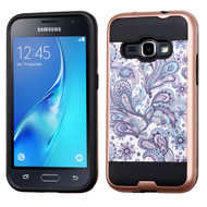 Brushed Graphic Hybrid Armor Case for Samsung Galaxy Amp 2 / Express 3 / J1 (2016) - Persian Paisley