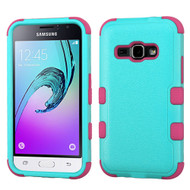*SALE* Military Grade TUFF Hybrid Armor Case for Samsung Galaxy Amp 2 / Express 3 / J1 (2016) - Teal Hot Pink