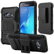 Advanced Armor Hybrid Kickstand Case with Holster for Samsung Galaxy Amp 2 / Express 3 / J1 (2016) - Black