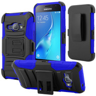 Advanced Armor Hybrid Kickstand Case with Holster for Samsung Galaxy Amp 2 / Express 3 / J1 (2016) - Black Blue