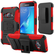 Advanced Armor Hybrid Kickstand Case with Holster for Samsung Galaxy Amp 2 / Express 3 / J1 (2016) - Black Red