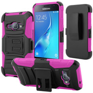 Advanced Armor Hybrid Kickstand Case with Holster for Samsung Galaxy Amp 2 / Express 3 / J1 (2016) - Black Hot Pink