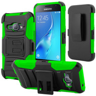 Advanced Armor Hybrid Kickstand Case with Holster for Samsung Galaxy Amp 2 / Express 3 / J1 (2016) - Black Green