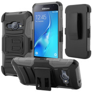 Advanced Armor Hybrid Kickstand Case with Holster for Samsung Galaxy Amp 2 / Express 3 / J1 (2016) - Black Grey